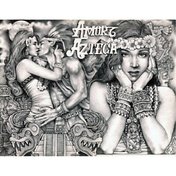 Amor Azteca By Mouse Lopez Mexican Indian Tattoo Black And White Canvas Art Print