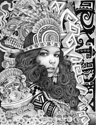 Aztec Girl By Mouse Lopez Mexican Indian Black And White Ink Canvas Fine Art Print