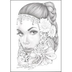 Lopez Aztec Girl By Mouse Drawing Black White Canvas Art Print Ready To Hang
