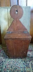 Antique Early Wood Lollipop Top Hanging Wall Candle Salt Box 20.5 Dark Patina