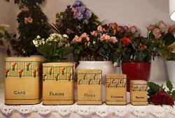 5 Lovely Antique French Tin Canisters Red Roses 1940s Vintage Toleware Rare
