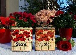 2 Charming Antique French Tin Canisters Set Red Poppies Flowers 1950s Vintage