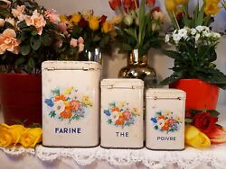 3 Lovely Antique French Tin Canisters Flowers Birds 1950s Vintage Metalware