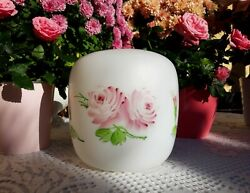 Superb Vintage French Opaline Milk Glass Lampshade Pink Roses Hand Painted 1950s
