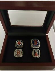 Boston Red Sox - World Series 4 Ring Set With Wooden Display Box.. Ortiz Pearce