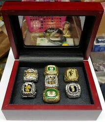Miami/florida - 7 Ring Set With Wooden Display Box.. Heat Marlins Dolphins