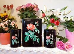 3 Lovely Vintage French Tin Canisters Black With Pink Roses 1950's Toleware