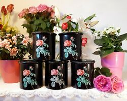5 Lovely Vintage French Tin Canisters Set Black With Pink Roses 1950's Toleware