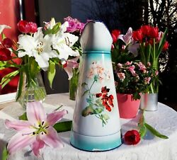 Superb Antique Enameled French Japy Pitcher Blue Red Flowers 1930s No Coffee Pot