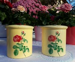 2 Lovely Vintage French Tin Canisters Beige With Pink Rose 1950's