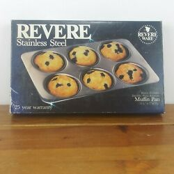 Revere Ware Stainless Steel Muffin Pan 2516 85 New, Original Open Box Free Ship