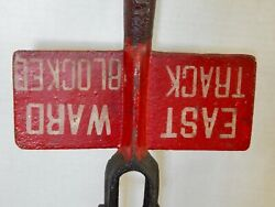 Antique 1915 Cast Iron Double Sided Railroad Sign Lever Signal Control Switch