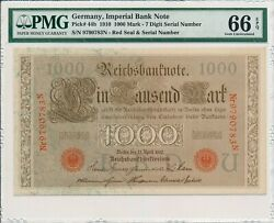 Imperial Bank Note Germany 1000 Mark 1910 7 Digit Serical Number Pmg 66epq