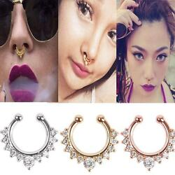 1pc Septum Clicker Nose Ring Non Piercing Hanger Clip On Body Hoop Jewelryyjs2