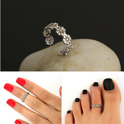 Womenand039s Retro Adjustable 925 Silver Plated Toe Ring Foot Jewelry Beach Yjs2