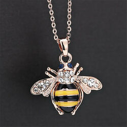 Chic Cute Women Ladies Honey Bumblebee Bee Crystal Pendant Chain Necklace Xns2