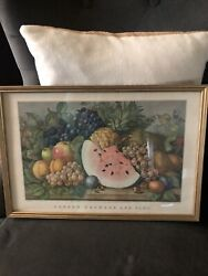 Currier And Ivesgarden Orchard And Vine 1867- Reprinted From Lith Framed 1964