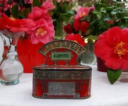 Beautiful Antique French Tin Canister Matchsticks Box Red Art Deco 1910s