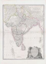 1836 Very Large Antique Map Hind Hindoostan India By Rochette And James Wyld