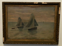 Antique 19th C Frame And Oil On Canvas Painting - Nautical Seascape Sailing Ships