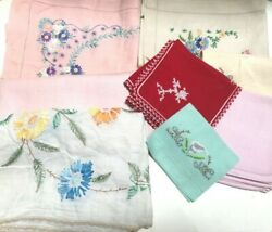 Vintage Lot Of Embroidered Floral Table Linens Colored Napkins, Table Runners