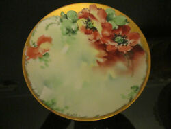 Antique Hutschenreuther Hand Painted Poppy Floral Gold Gilt Cabinet Plate Signed