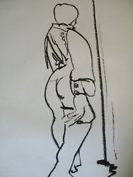 Midcentury Modern Abstract Sketch Nude Woman Chicago Artist Signed Faye Franklin