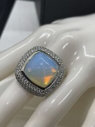 David Yurman Ring Sterling Silver Albion Hammered Moonstone With Diamonds Size 7