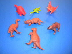 7 Red Brown Green Dinosaurs/mammals Marx/other/1960and039s Plastic Figures Lot