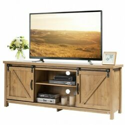 Tv Stand Media Center Console Cabinet Sliding Barn Door For Tvand039s 60 Rustic Oak