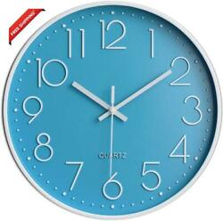 12 Inch Wall Clock Modern Silent Non Ticking Battery Operated Round Easy To Read