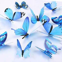 Butterfly Wall Decals 24 Pcs 3D Removable Mural Stickers Blue
