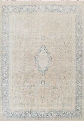 Antique Muted Floral Kirman Hand-knotted Area Rug Evenly Low Pile Oriental 10x12