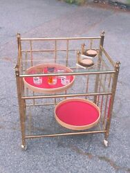 Fantastic Mcm Mid-century Design Brass Bar Cart With Horse Heads