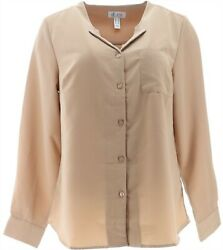 Denim And Co Solid Woven Wing Collar Button Front Blouse Mocha Xs New A350035