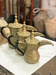 Old Antique Handcrafted Persian Brass Silver Inlaid Set Of 3 Dallah Coffee Pot