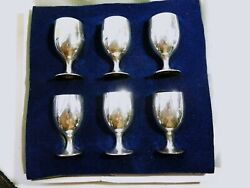 Leonard Epns Cordial Brandy Footed Goblets Set Of 6 Silverplated 1970s Nib