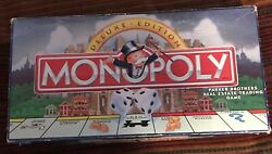 Vtg Monopoly Deluxe Edition 1998 Gold Tokens Wood Houses Hotels Complete