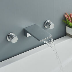 Wall-mount Waterfall Spout Bathtub Faucet With Handheld Shower Tub Filler Chrome