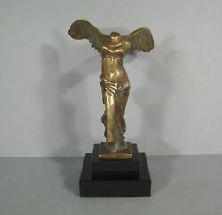 Nike Of Samothrace Victory Sculpture Antique Bronze Signed Max Le Glass Editor