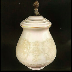 Antique Light Globe Frosted Etched Floral Pattern Glass Brass Finial 11 1/2