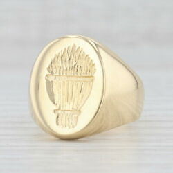Vintage Sheath Of Wheat Signet Ring 18k Yellow Gold Size 10.25 Hand Engraved