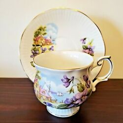 Vintage New Brunswick Tea Cup And Saucer Queenand039s Rosina Fine Bone China Violets