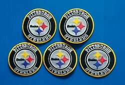 5 Nfl Pittsburgh Steelers 3 Inch Patches Sew/iron On W/ Free Shipping.