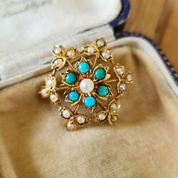 Edwardian 14ct, 14k, Gold, Pearl And Turquoise Snowflake, Cluster Brooch, Pendant