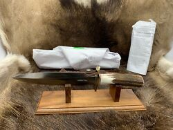 Randall Model 2-7 Stiletto Knife Stag Handles Leather Sheath Mint With Papers