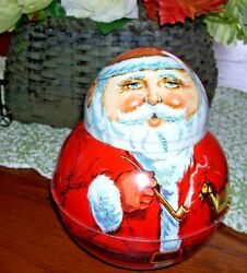 Roly Poly Old World Santa Claus Tin Box By Chemco 1980 Usa