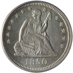 1850-p Seated Liberty Quarter Icg Ms60 Details Blast White Great Eye Appeal