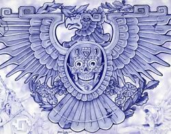Blue Eagle By Mouse Lopez Mexican Indian Warrior Skull Tattoo Canvas Art Print
