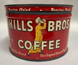 Vintage Hills Bros Brothers 1 Lb Coffee Can Tin Advertising W/ Lid A4
